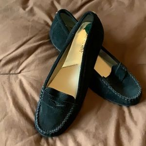 Michael Kors Black Suede Leather Penny Loafer Flat